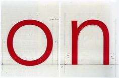 Adrian Frutiger – Original drawings with measurements (background) superimposed by the PostScript version of Avenir LT 35