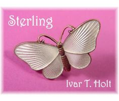 """Sterling ~ Norway Guilloche Pearl Lustre White Enamel Butterfly Pin Brooch ~ Ivar T. Holt -  """"FREE SHIPPING"""" & ON SALE $48  http://www.findmetreasure.com/shop/touchingthepastantiques/index.php/vintage-jewelry/sterling-norway-guilloche-pearl-lustre-white-enamel-butterfly-pin-brooch-ivar-t-holt.html"""