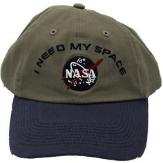 I NEED MY SPACE NASA Meatball Hat (59 BRL) ❤ liked on Polyvore featuring accessories, hats, caps, headwear and cap hats