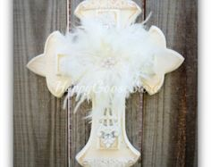 Medium Wall Cross Antiqued White Shabby Chic with by happygoose