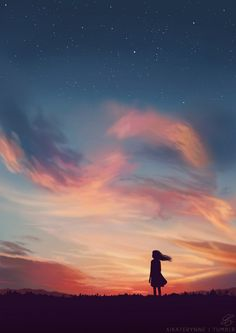 Vanilla sky and little girl Aesthetic Art, Aesthetic Pictures, Japon Illustration, Scenery Wallpaper, Girl Wallpaper, Anime Scenery, Anime Art Girl, Night Skies, Sky Night