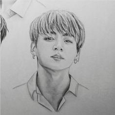 BTS fanart Jungkook Kpop Drawings, Art Drawings Sketches, Pencil Drawings, Simple Plan, K Pop, Bts Chibi, Realistic Drawings, Kpop Fanart, Bts Photo