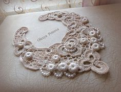 Crochet Necklace Flower Beads Collar Wedding Decoration by OLEANDR