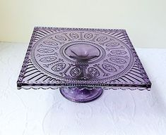 ~Deep Lavender Depression Glass Style Pedestal Cake / Cupcake Stand~ Love this! Purple Love, Purple Glass, All Things Purple, Purple Stuff, Cake And Cupcake Stand, Cupcake Fondant, Rose Cupcake, Cupcake Toppers, Cake Pedestal