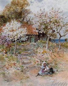 William Stephen Coleman - Children in an Orchard: