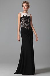 Vestido de Fiesta Formal Sin Manga Longitud al Suelo Negro y Blanco (26152000)