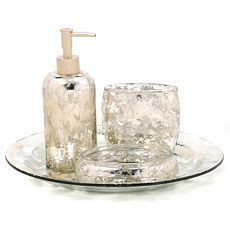 $19.99 silver mercury glass bath set