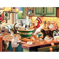 Buffalo Games - Cats Collection - Kitten Kitchen Capers - 750 Piece Jigsaw Puzzle 750 piece jigsaw puzzle Finished size is 24 x 18 inches Bonus poster included for help in solving https://hobbiesandcrafts.boutiquecloset.com/product/buffalo-games-cats-collection-kitten-kitchen-capers-750-piece-jigsaw-puzzle/