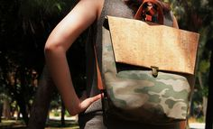 Younique backpack in a combination of militer and cork. Straps are from genuine leather.