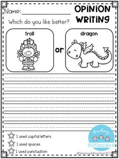Free writing prompt: opinion writing for first grade. this is also great for kindergarten and second grade to build confidence in writing. Kindergarten Journals, Kindergarten Writing Prompts, Writing Worksheets, Writing Activities, In Kindergarten, Literacy, Writing Curriculum, Writing Rubrics, Writing Comprehension