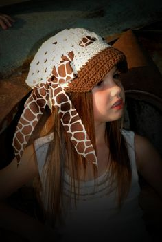 Newsboy Hat/Cap in Cream and brown with a giraffe print by SewPosh, $14.00