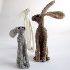 Three Needle Felted Hares by Stephanie Carswell www.stephaniecarswell.co.uk