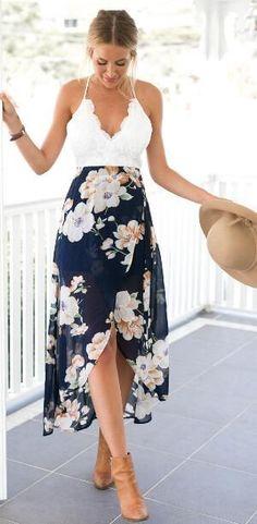 V Neck Lace Floral Slit Long Dress