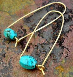 Simple Turquoise in Brass, Turquoise and Brass earrings, ThePurpleLilyDesigns on Etsy, $20.00