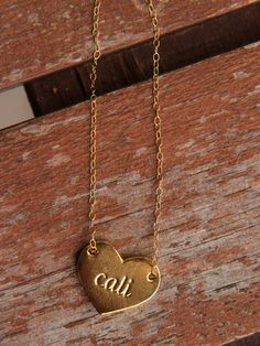 "Gold Cali Heart... <3 great gift for any ""California girl"""