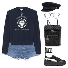 """Untitled #1149"" by elipenaserrano ❤ liked on Polyvore featuring RE/DONE, Yves Saint Laurent, Puma, Chanel and Ray-Ban"