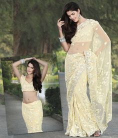 $171.63 Yellow Net Saree 20939 With Unstitched Blouse