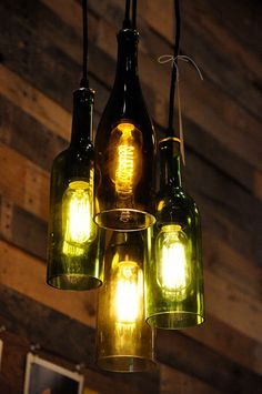 Recycled Wine Bottle Pendant Lamp, Bottle Lamp with Edison Light bulb- source: Etsy Lighted Wine Bottles, Old Bottles, Bottle Lights, Glass Bottles, Wine Bottle Lighting, Recycle Wine Bottles, Altered Bottles, Antique Bottles, Vintage Bottles