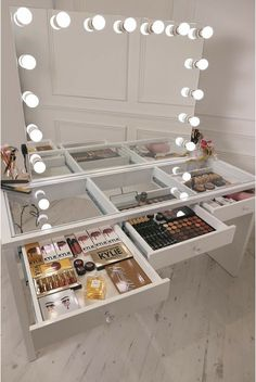 White Vanity With Lights And Drawers.Furniture: Interesting Ikea Makeup Vanity For Your Bedroom . 50 Makeup Vanity Table With Lights You'll Love In 2020 . Furniture: Interesting Ikea Makeup Vanity For Your Bedroom . Home and Family Makeup Vanity Mirror, Vanity Room, Vanity Desk, Vanity Mirrors, Makeup Desk, Vanity Area, Vanity Drawers, Makeup Vanities, Makeup Tables