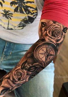 41 Beautiful Rose Tattoo Ideas For Women new Models rose tattoo on shoulder; rose tattoo for men; Rose Tattoos For Men, Half Sleeve Tattoos For Guys, Arm Sleeve Tattoos, Cool Tattoos For Guys, Tattoo Sleeve Designs, Tattoo Designs Men, Men Tattoo Sleeves, Tattoo Sleeve Themes, Tattoo For Man