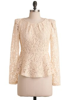 In the Right Lace Top - White, Lace, Pleats, Long Sleeve, Floral, Fall, Mid-length, Casual, Peplum