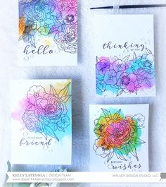 Distress Ink Watercolor Backgrounds on Bristol