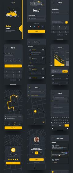 Taxo is customisable and well organized Taxi Booking app UI Kit. This Ui Kit helps you to quickly create a modern and minimalistic App. If you need a great tool to create a great design, then this is for you Android App Design, Ios App Design, Mobile Ui Design, User Interface Design, Ux Design, Design Elements, Mobile App Ui, Mobile Web, Iphone Ui