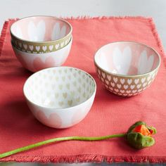 Heart Pad-Printed Bowls | west elm