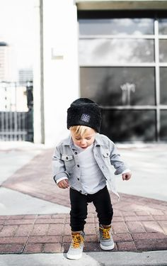 How i would dress my son --cute boy style with gray flannel shirt, white t-shirt, black skinny jeans and yellow lace up boots