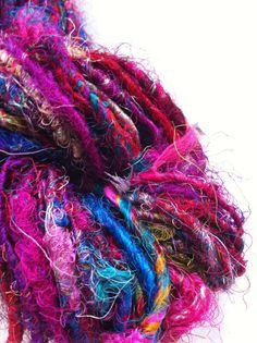Handspun sari silk yarn Art Yarn Knitting yarn by Crochetmushroom, $9.99