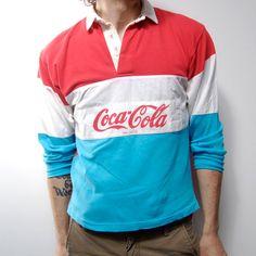 COCA COLA 80s long sleeve COTTON polo shirt