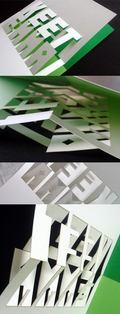 pop-up card (laser cut)the card is printed on heavy white stock in two pantone colours and the pop-up letters plus fold lines were die-cut by a special laser using tiny perforation dots and then hand folded (by me)