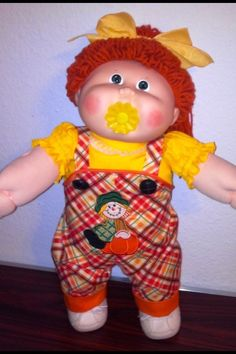 1988 VINTAGE CABBAGE PATCH #17 GIRL DOLL CUSTOM PACI SCARECROW CLOTHES SHOES #DollswithClothingAccessories