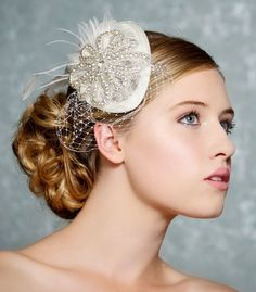 Ivory Bridal Hat, Crystal Wedding Fascinator, Mini Hat, Birdcage Veil, Swarovski Crystal Headpiece - DARLENE - Read to Ship. $89.00, via Etsy.