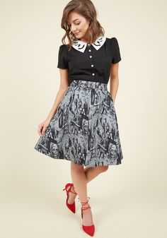 Walker the Walk Skirt. Show off a gloriously ghastly side of your persona by donning this grey skirt as a part of your ensemble! #grey #modcloth