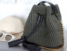 $189 bucket purse || mini bucket bag || t shirt yarn purse || crochet bag