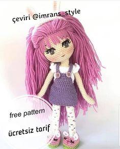 ve çok çok tatlı bir Lila bebeğin tarifi geldi 💃 keyifli örmekler 💞.and the recipe of a very very sweet lilac baby came from 💃 delightful plaits 💞 . Crochet Dolls Free Patterns, Crochet Motifs, Crochet Doll Pattern, Amigurumi Patterns, Doll Patterns, Pikachu Crochet, Crochet Fox, Free Crochet, Lila Baby