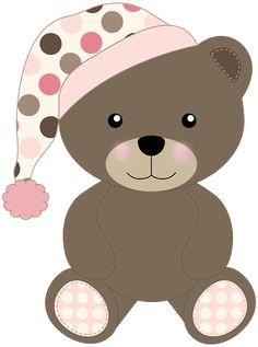 Bear with Night Cap Baby Boy Scrapbook, Teddy Bear Images, Patchwork Baby, Cute Clipart, Felt Baby, Baby Shower, Bear Cartoon, Tatty Teddy, Applique Patterns