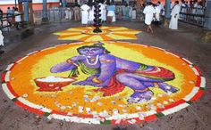 Pookalam Designs with Theme, Best Onam Pookalam Designs Rangoli Designs Flower, Rangoli Designs Diwali, Rangoli Designs With Dots, Flower Rangoli, Kolam Designs, Happy Onam Images, Onam Pookalam Design, Sanskar Bharti Rangoli Designs, Onam Wishes