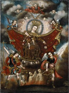 Circle of Diego Quispe Tito (Peruvian (Cuzco), 1611-1681). Virgin of Carmel Saving Souls in Purgatory, late 17th century. Oil on canvas, 41 x 29 in. (104.1 x 73.7 cm). Brooklyn Museum, Museum Expedition 1941, Frank L. Babbott Fund