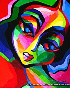 L'artiste martina Shapiro crée, sans modèle, ce portrait abstrait, coloré et plein d'émotion. Elle peint directement sur la toile en inventant grâce à son imagination, formes, couleurs et lignes épurées, sans connaître le but ultime de son travail. Le...