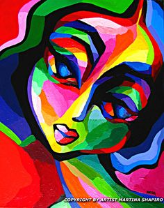 Colors Of Emotion original contemporary woman painting by artist Martina Shapiro, abstract female figure