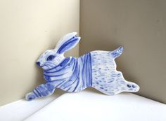Rabbit with a Breton striped shirt  Brooch by Harrietsblueandwhite
