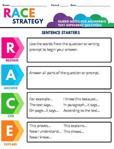 RACE Strategy Guided Notes   Informative Writing by HeyyMsTucker Races Writing Strategy, Race Writing, Writing Strategies, Informative Writing, Informational Writing, Paragraph Writing, Opinion Writing, Reading Lessons, Guided Reading