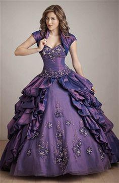 Ball Gown Sweetheart Applique Ruffles Floor-length Sweet 16 #Dress Style Code: 05316 $254