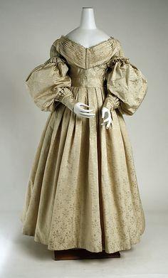 """Dress, Evening, pale gold. Date: ca. 1835 Culture: British Medium: silk, wool, cotton. Accession Number: 1984.89"""