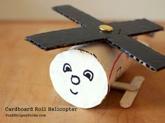 Toilet Paper Roll Helicopter Craft for children. Preschool Crafts, Fun Crafts, Arts And Crafts, Craft Activities, Toddler Activities, Helicopter Craft, Diy For Kids, Crafts For Kids, Junk Modelling