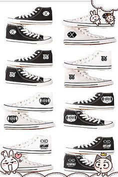 KPOP Exo Unisex Canvas Shoes High Top Sneaker Hand Painted Shoe Growl XOXO Wolf | eBay