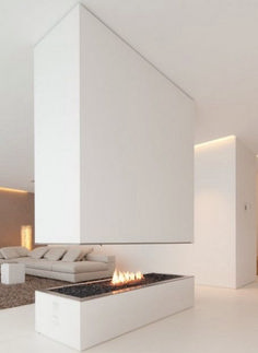 The Bavarian HI-MACS House, designed by owner Karl Dreer with architecture firm Bembé Dellinger, utilizes the innovative mineral material Hi-MACS throughout Cabinet D Architecture, Interior Architecture, Modern Interior, Interior And Exterior, Interior Design, Interior Decorating, Floating Fireplace, Floating Wall, Bauhaus Style