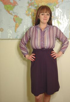 MY FAVORITE PLUM Vintage 1970s Era 3 Piece Plum Dress by FunkygirllBoutique $46.00